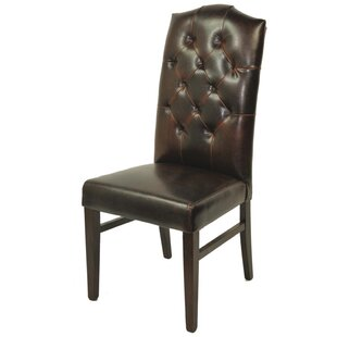 True Leather Tufted High Back Side Chair by MOTI Furniture