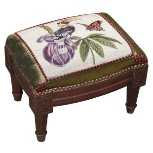 Great Hornbill Wool Needlepoint Upholstered Ottoman