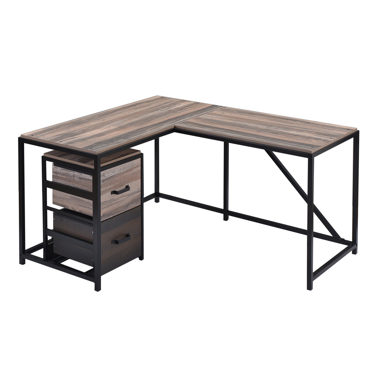 17 Stories L Shaped Home Office Computer Desk With Modern Style And Mdf Board Easy To Assemble Walnut
