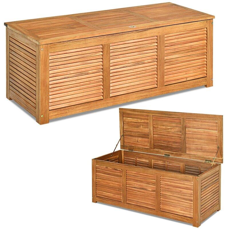 LK-AHLSEN 47 Gallon Acacia Solid Wood Deck Box in Brown