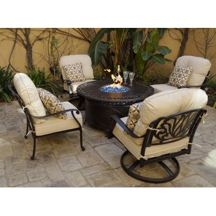 Buller 5-Piece Fire Pit Chat Multiple Chairs Seating Group Set with Cushions and Pillows by Canora Grey
