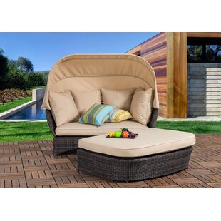 Tolbert Wicker Patio Daybed with Ottoman