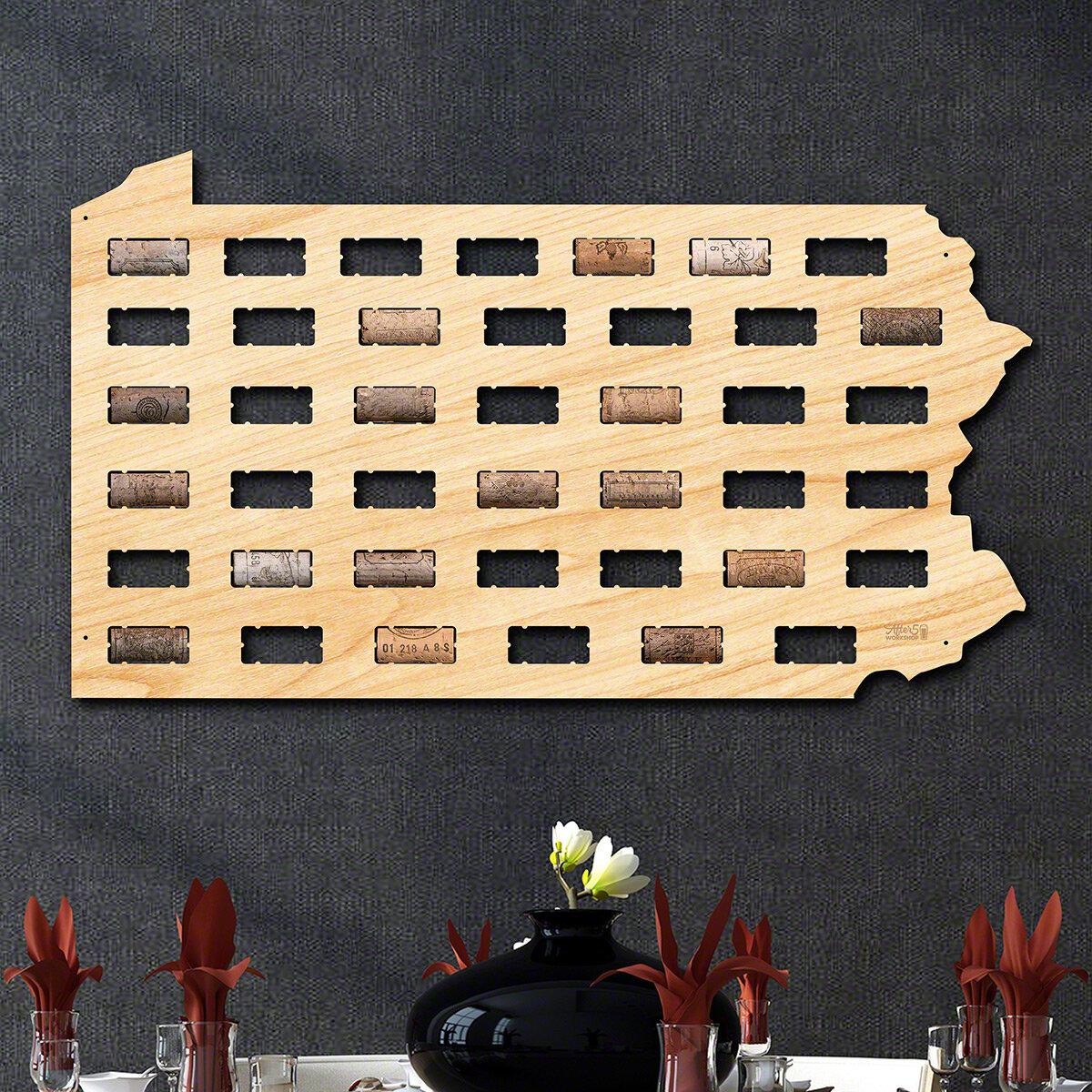 Millwood Pines Pennsylvania Wine Cork Map Wall Décor | Wayfair