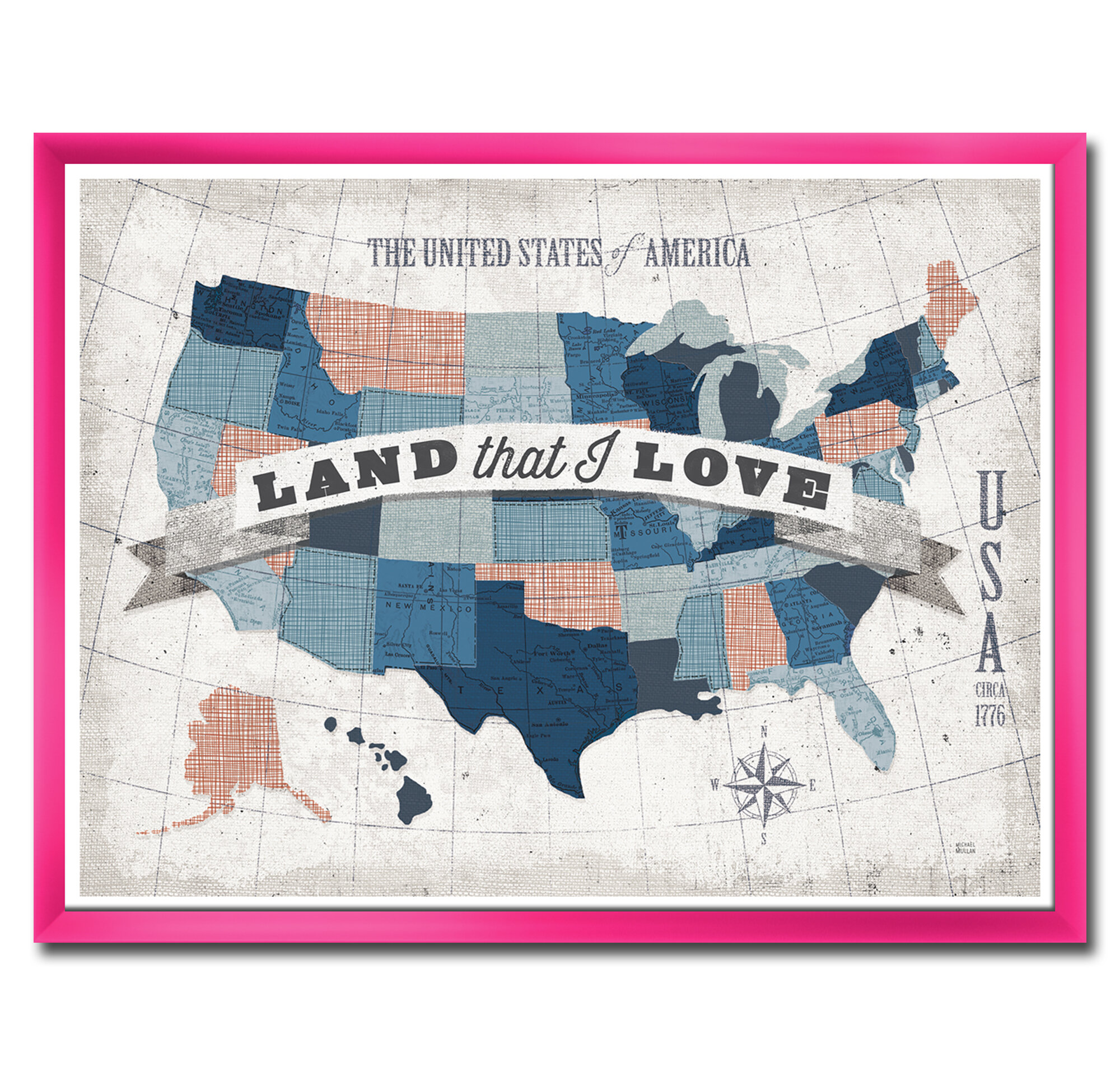 East Urban Home American Map Watercolor Picture Frame Print On Canvas Wayfair