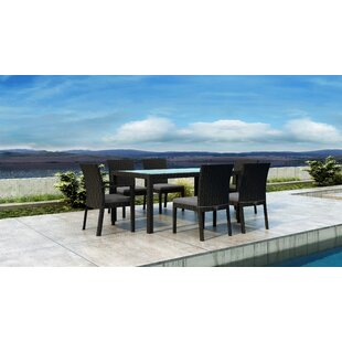 Everly Quinn Glendale 7 Piece Dining Set with Sunbrella Cushion