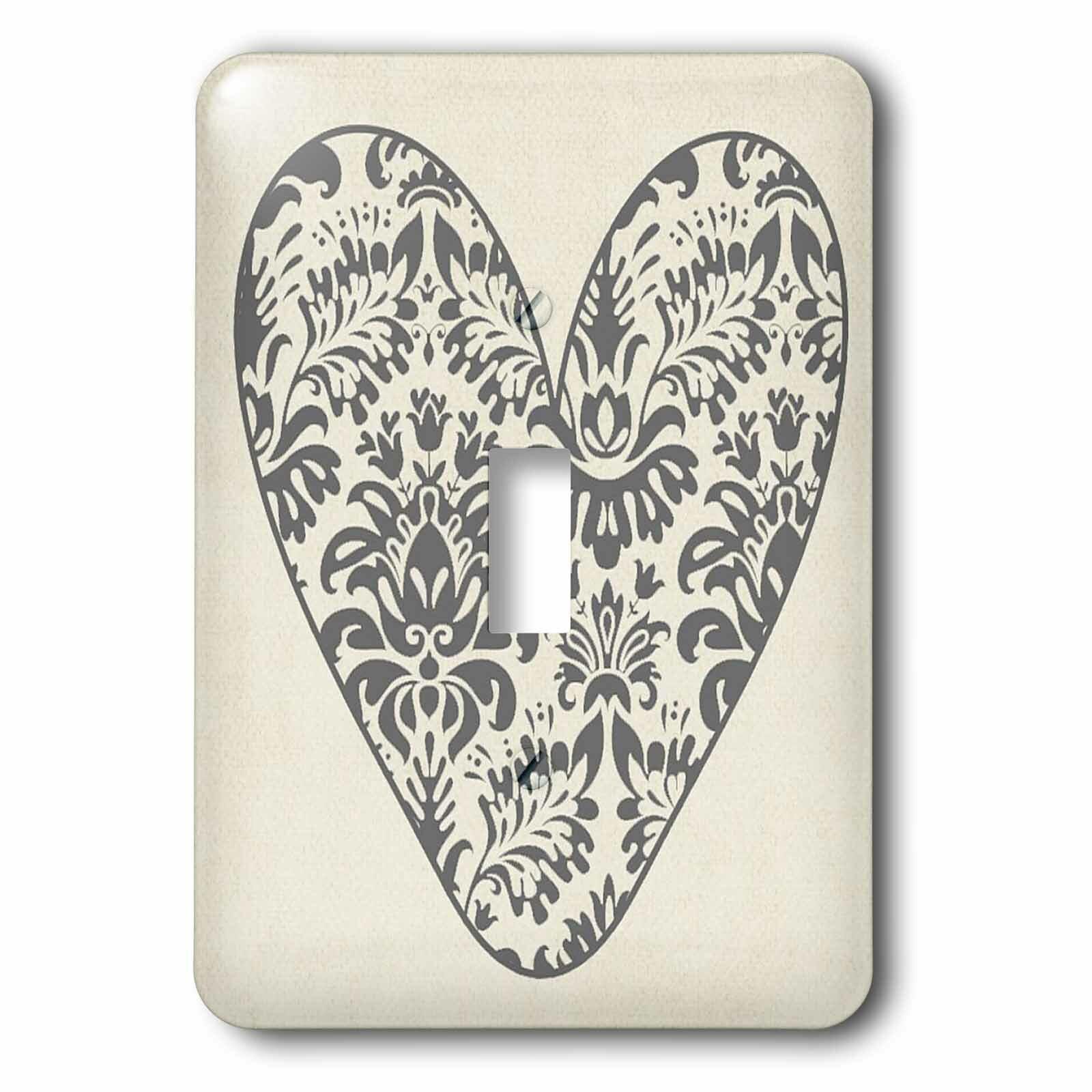3drose Pretty Art Nouveau Flower Heart 1 Gang Toggle Light Switch Wall Plate Wayfair