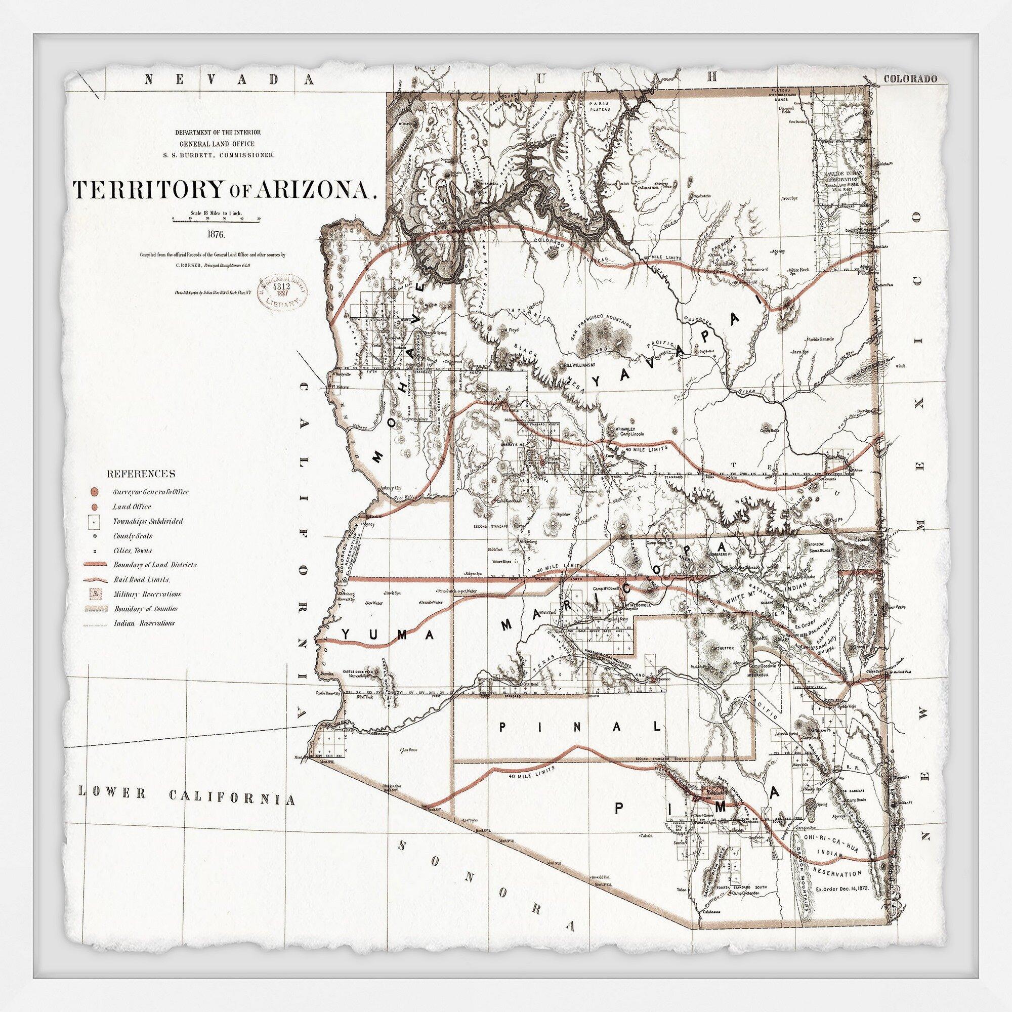 "20/"" x 24/"" 1887 Map Of Territory Of Arizona"