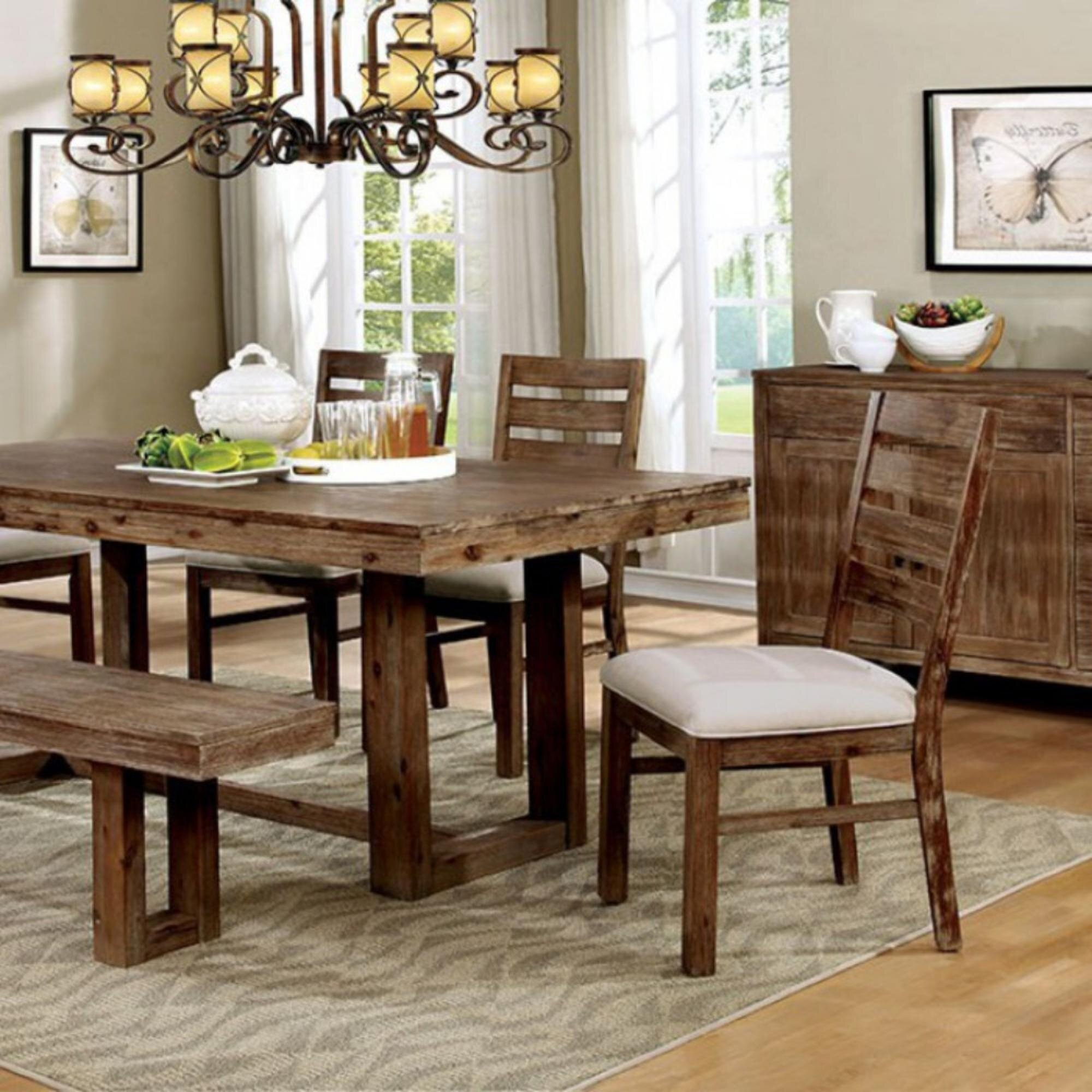 Union Rustic Thibodeaux Country Solid Wood Dining Table Wayfair