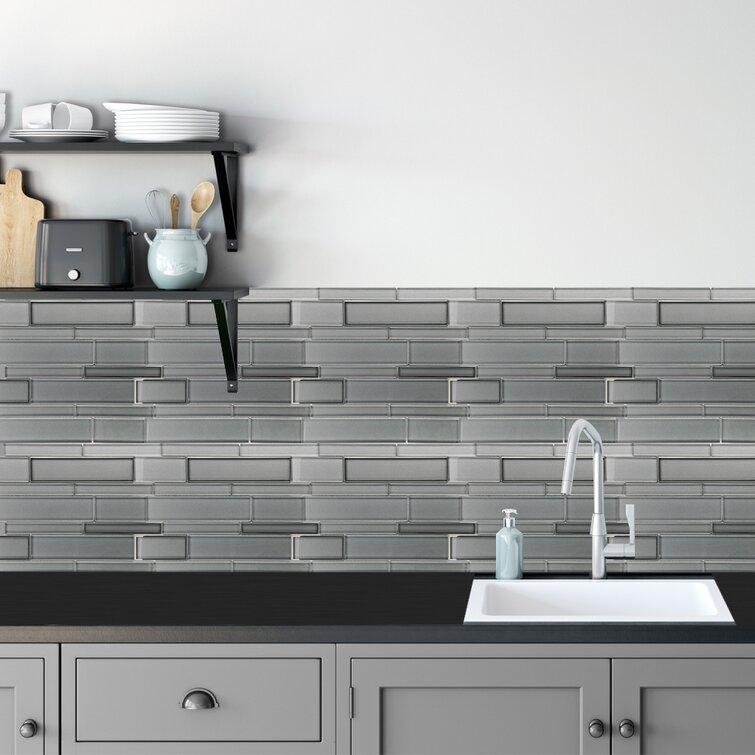A D Modern Life Fantastic Glass Tile 10 Piece 12 X 12 X 8 Mm Popsicle Beautiful Kitchen Backsplash And Bathroom Glass Mosaic Tiles In Light Grey Finish Wayfair