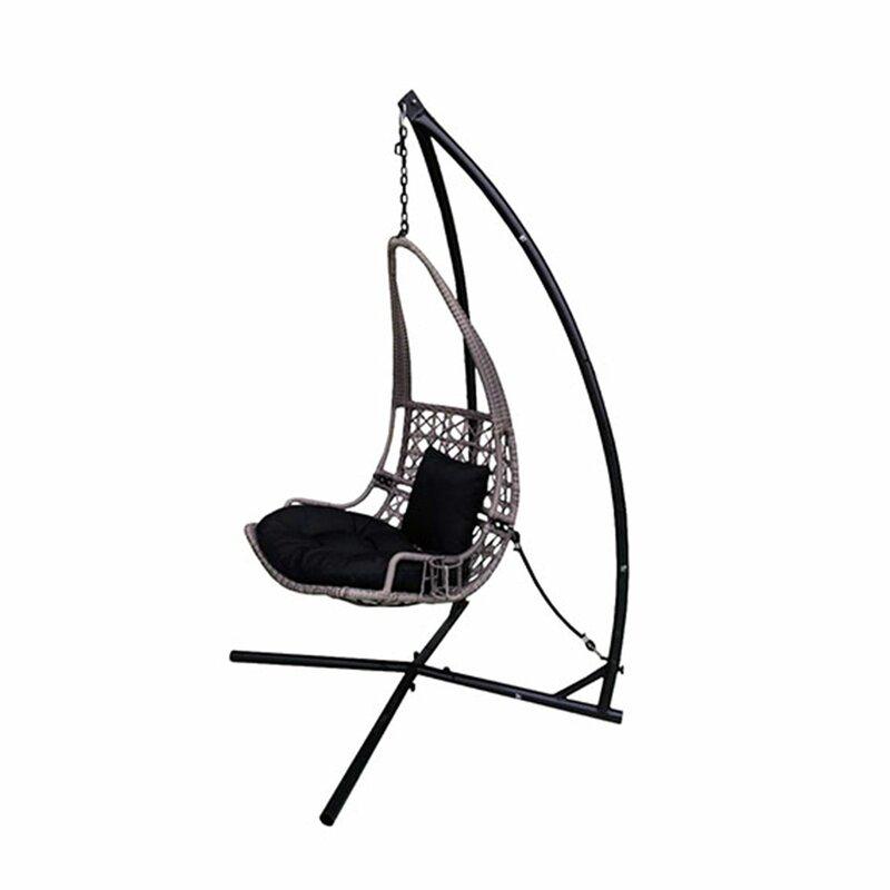 Newlon Wicker Rattan Hanging Swing Chair With Stand