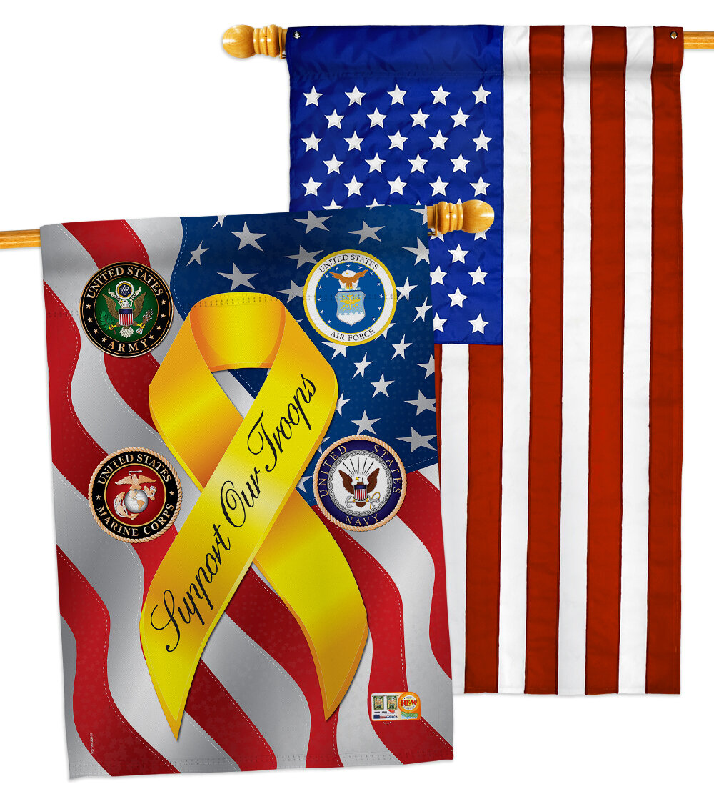 Breeze Decor 2 Piece Support Our Troops Freedom Impressions Decorative 2 Sided Polyester 40 X 28 In House Flag Set Wayfair