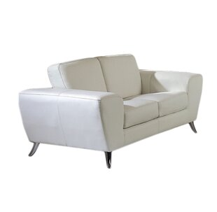 Alonso Leather Loveseat by Wade Logan Fresh