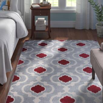 8a42db777c6 Eric Moroccan Trellis Red Gray Area Rug. by Andover Mills