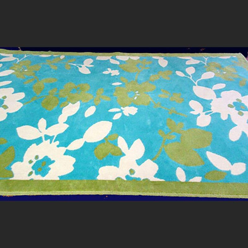 Red Barrel Studio Aurrie Floral Cotton Blue Area Rug Wayfair