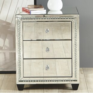 Find for Laster Crystal 3 Drawer Nightstand By Rosdorf Park