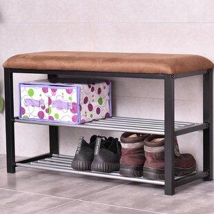 Winston Porter 2 Tier Soft Seat Shoe Storage Bench
