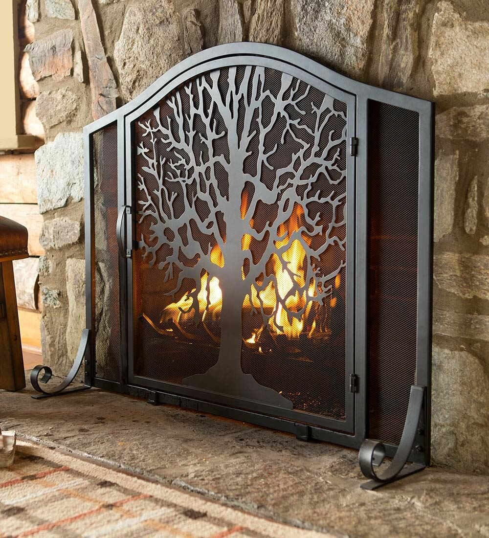 Plow & Hearth Tree of Life Single Panel Iron Fireplace Screen ...