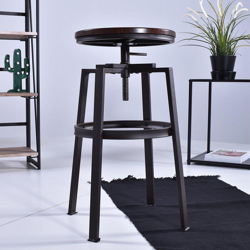 Williston Forge Elson Swivel Adjustable Height Bar Stool (Set of 2)