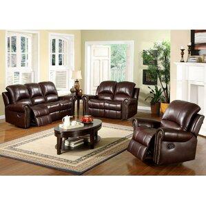 Sedona Reclining 3 Piece Leather Living Room Set