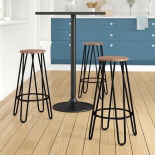 Avery 74cm Bar Stool In Walnut/Black (Set Of 2) By Zipcode Design