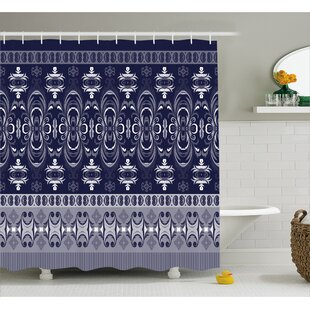 Daisi Indian Floral Horizontal Shower Curtain + Hooks