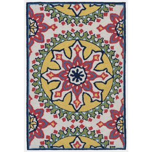 Petterson Moroccan Medallion Hand-Tufted Pink/Yellow Indoor/Outdoor Area Rug