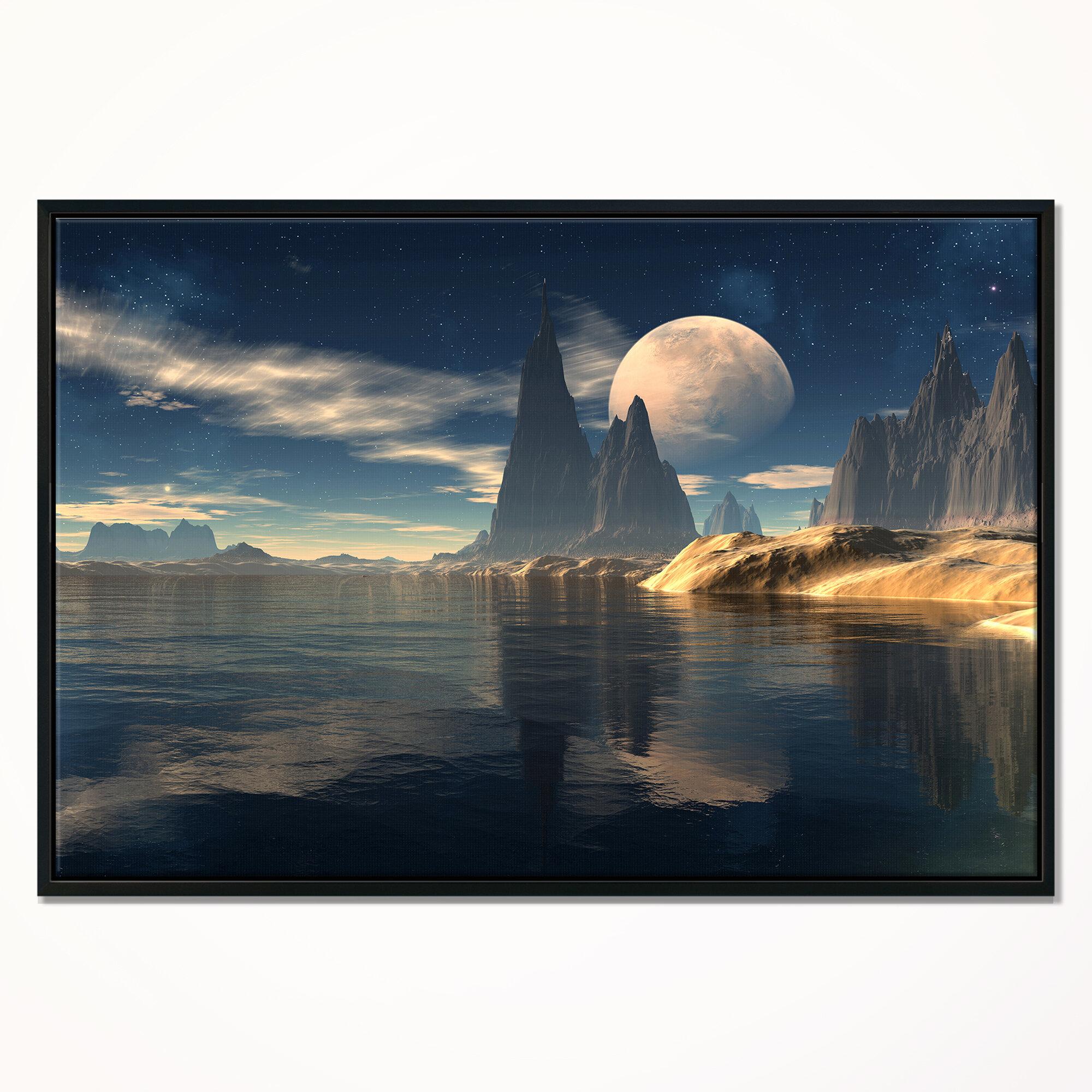 East Urban Home Antara Alien Planet Framed Graphic Art On Canvas Wayfair