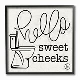 'Toilet Hello Sweet Cheeks Black and White Curly Script Cursive' Textual Art Print