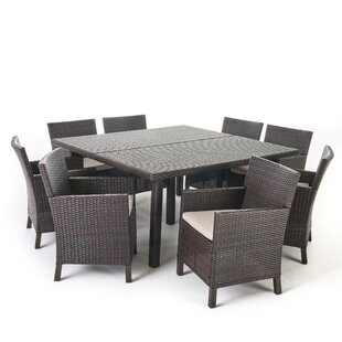 Waban 9 Piece Dining Set with Cushions