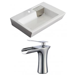 Ceramic 26 Wall Mount Bathroom Sink with Faucet and Overflow ByAmerican Imaginations