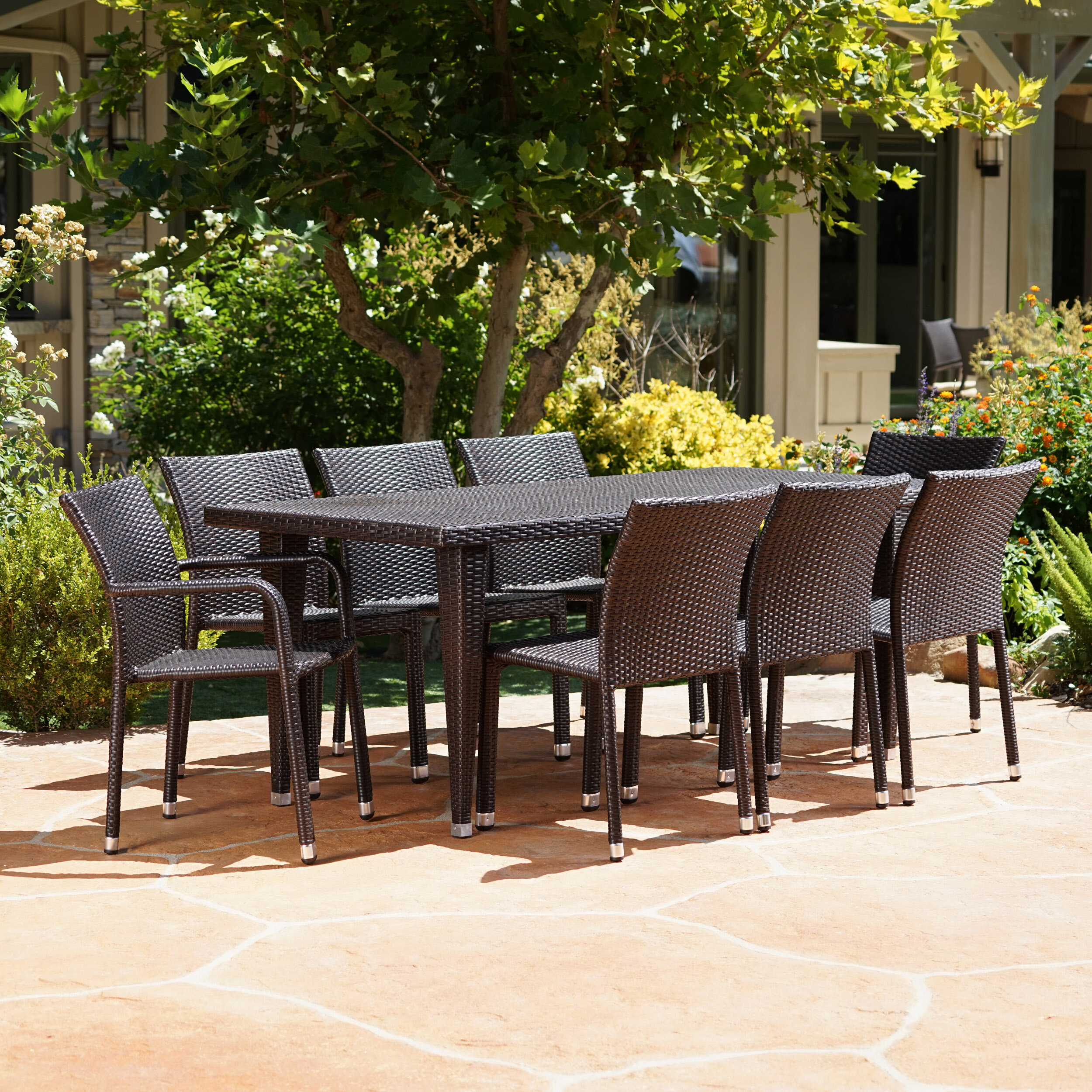 Williston Forge Kaila Outdoor 9 Piece Wicker Dining Set & Reviews