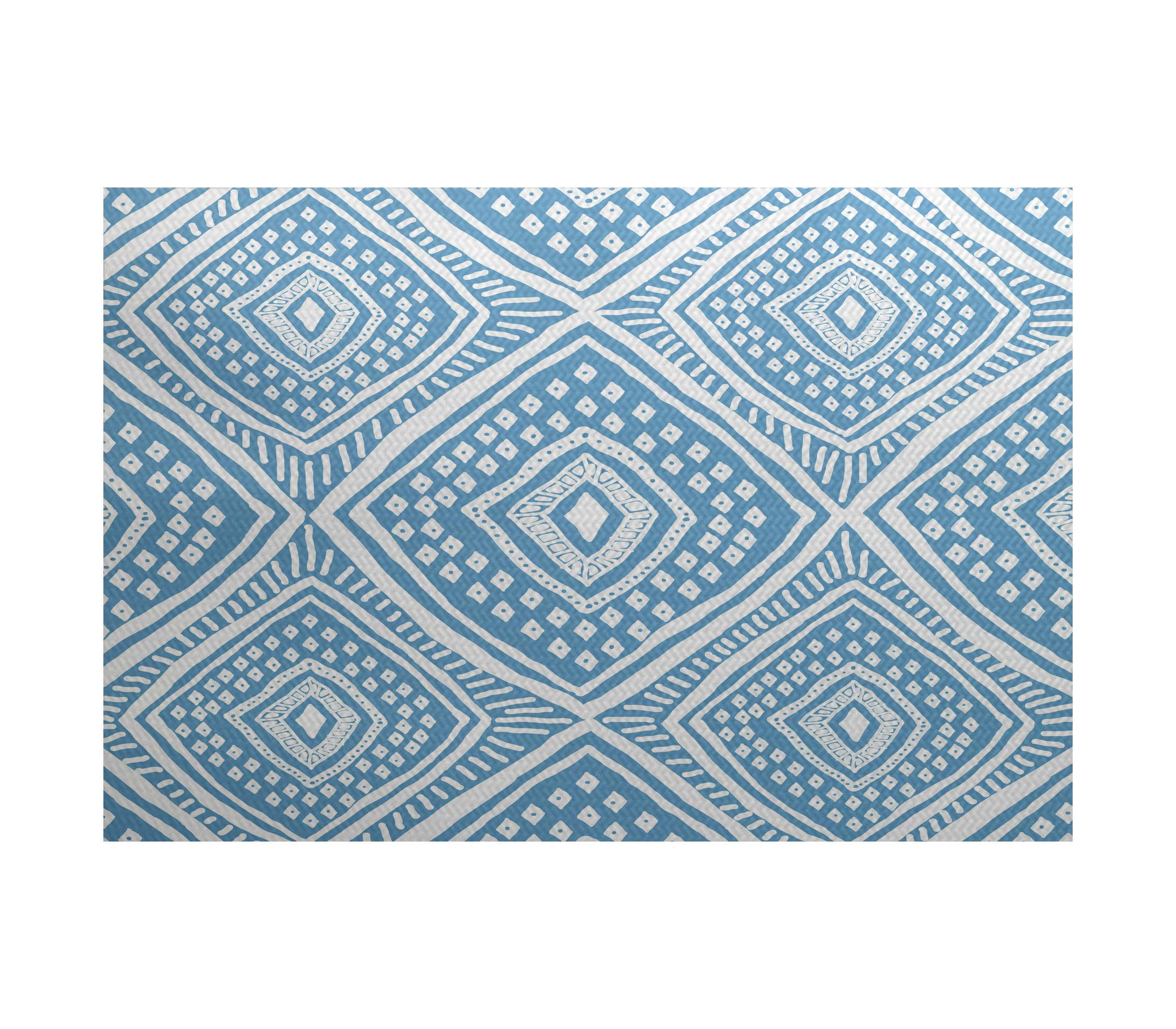 Dakota Fields Abbie Geometric Flatweave Blue Area Rug Wayfair