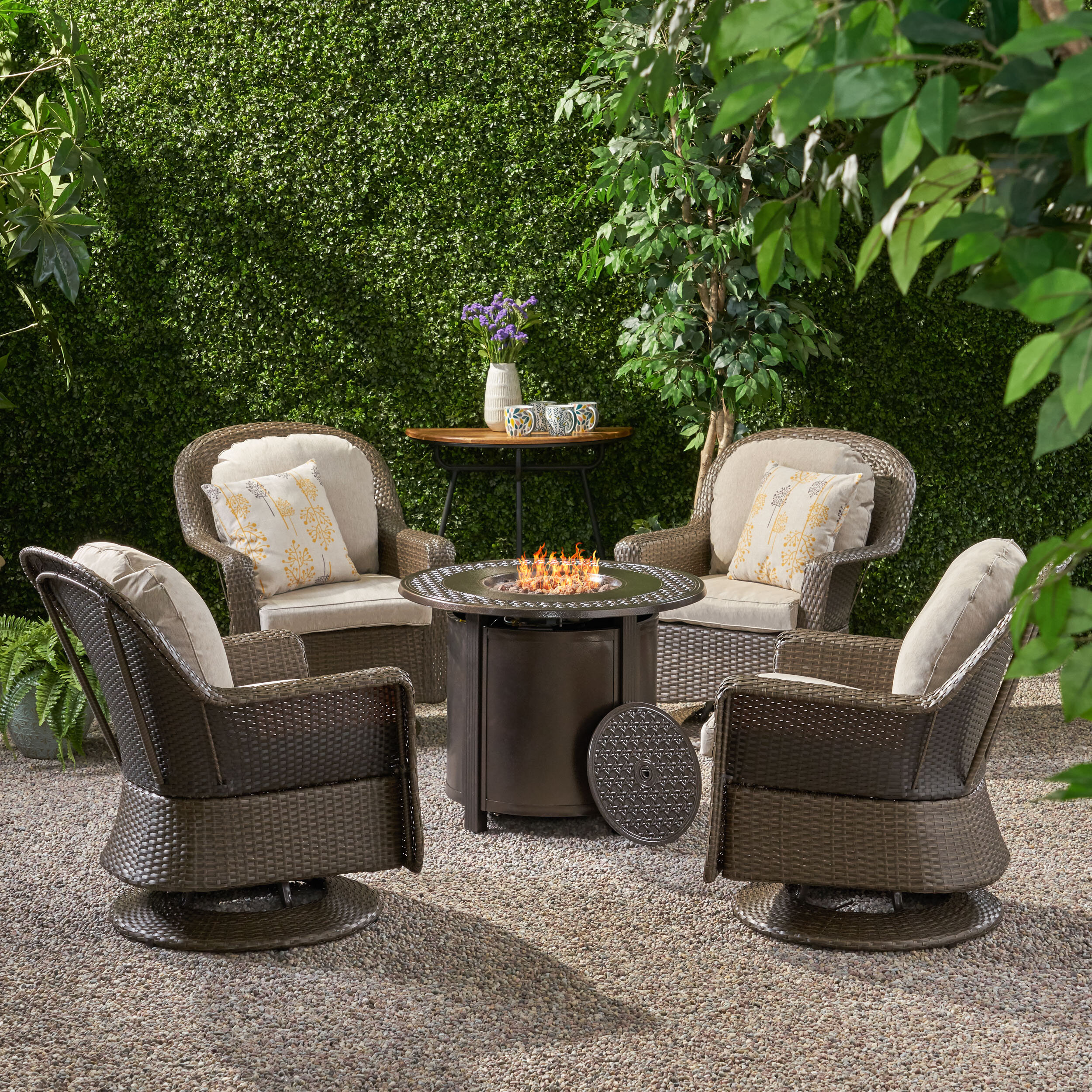 Latitude Run Madera 5 Piece Rattan Multiple Chairs Seating Group With Cushions Wayfair