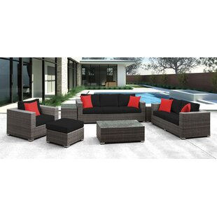 Roslindale 7 Piece Rattan Sofa Set with Cushions