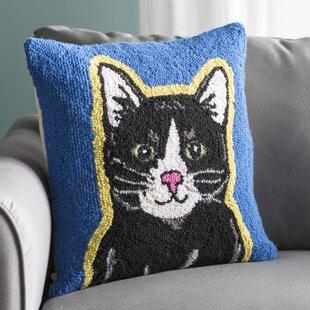 Alison Cat Hook Wool Throw Pillow