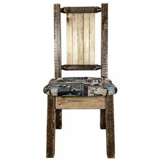 Tustin Side Chair - Woodland Upholstery W/ Laser Engraved Bear Design, Stain & Lacquer Finish by Loon Peak SKU:DD288530 Reviews