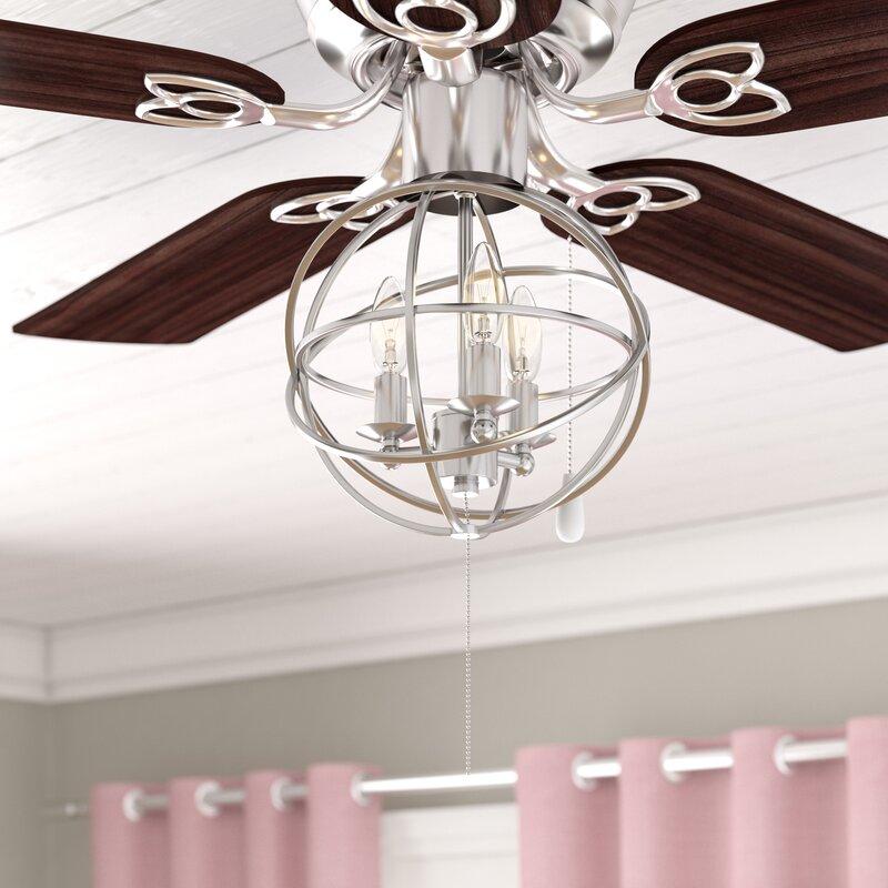 3 light ceiling fan satin nickel 3light led globe ceiling fan light kit gracie oaks reviews wayfair