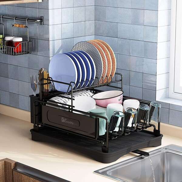 Zhulinjubao Dish Drying Rack 2 Tier Compact Kitchen Dish Rack Drainboard Set Large Rust Proof Steel Dish Drainer With Swivel Spout Utensil Holder Non Slip Cup Holder For Kitchen Counter Wayfair