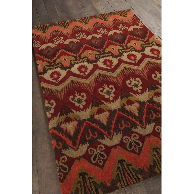 Forbis Red Abstract Area Rug