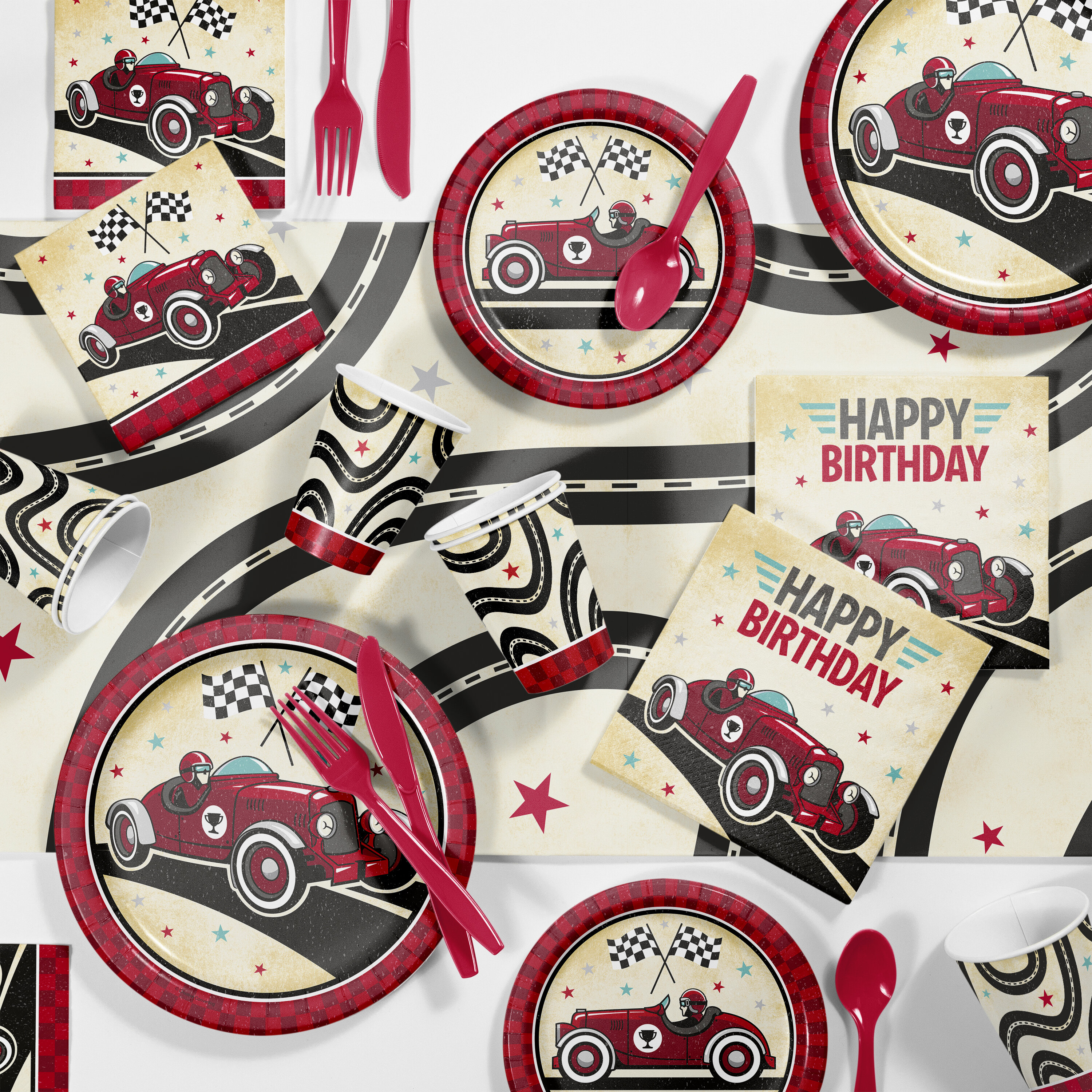 Creative Converting Vintage Race Car Party Supplies Kit For 24 Guests Wayfair