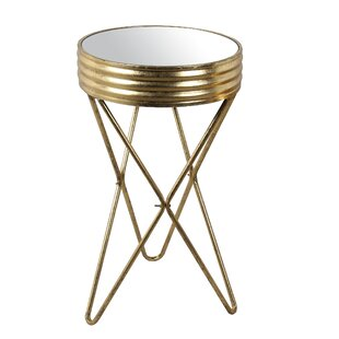 Lesa Large Iron Mirror End Table by Everly Quinn