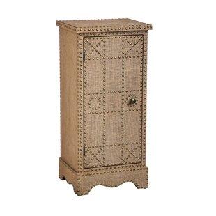 Evergreen Enterprises, Inc Burlap Covered Wooden 1 Door Cabinet with Stud Detail