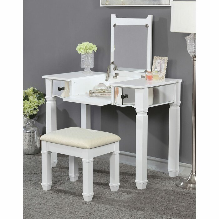 Lon Vanity Set With Stool And Mirror