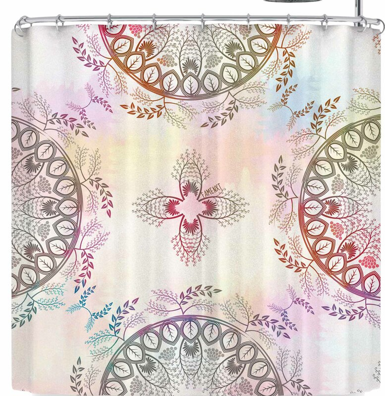 Famenxt Soft Pastel Color Mandala Shower Curtain