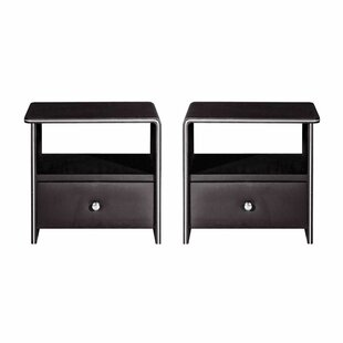 Tiemann Leather Upholstered Wooden 1 Drawer Nightstand (Set of 2) by Wrought Studio