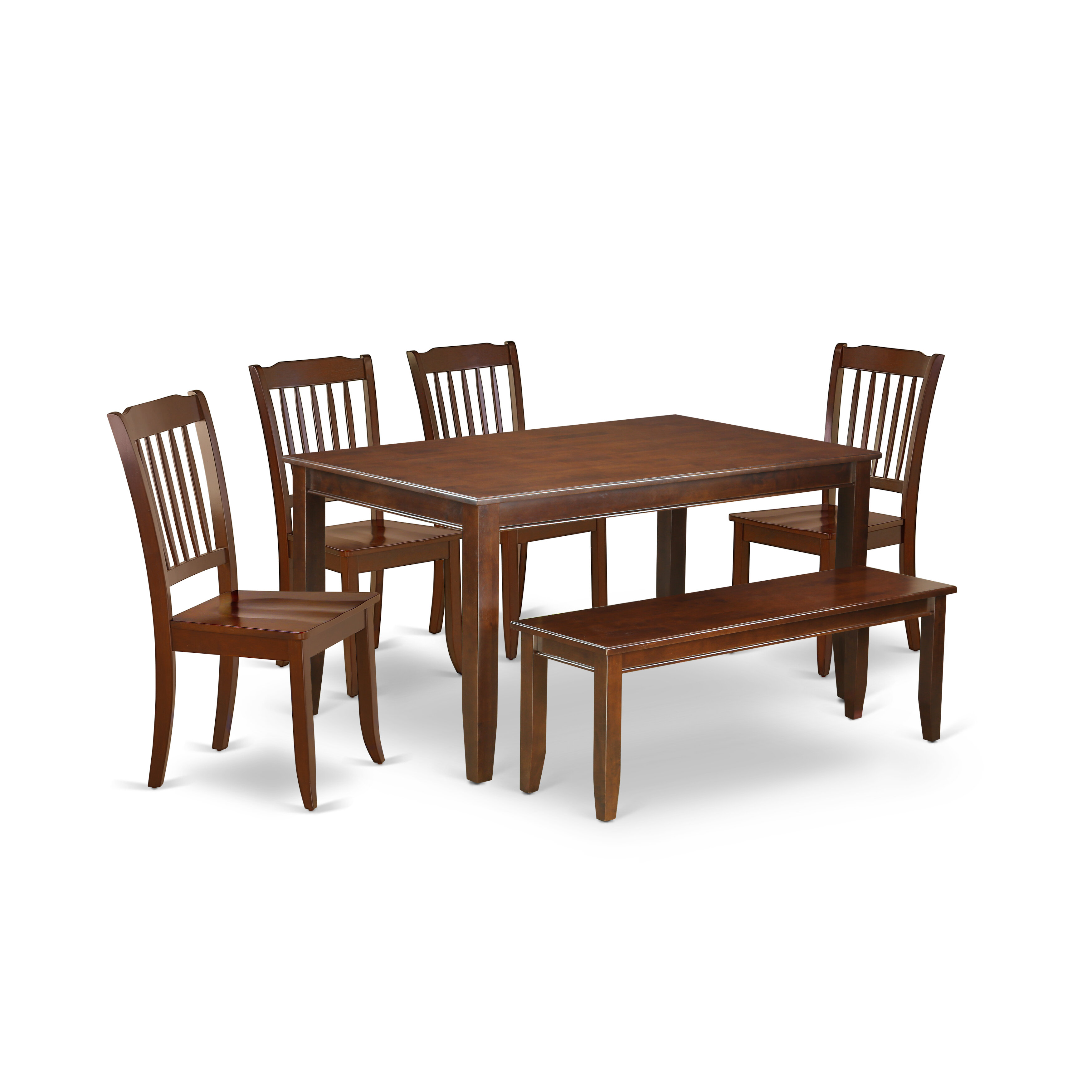 Tremendous Lamkin 6Pc Rectangular 60 Inch Table And 4 Vertical Slatted Chairs Plus 1 Bench Bralicious Painted Fabric Chair Ideas Braliciousco