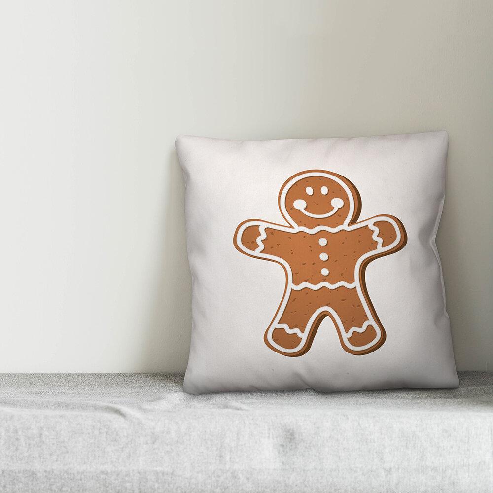 The Holiday Aisle Toupin Gingerbread Man Throw Pillow Cover Wayfair