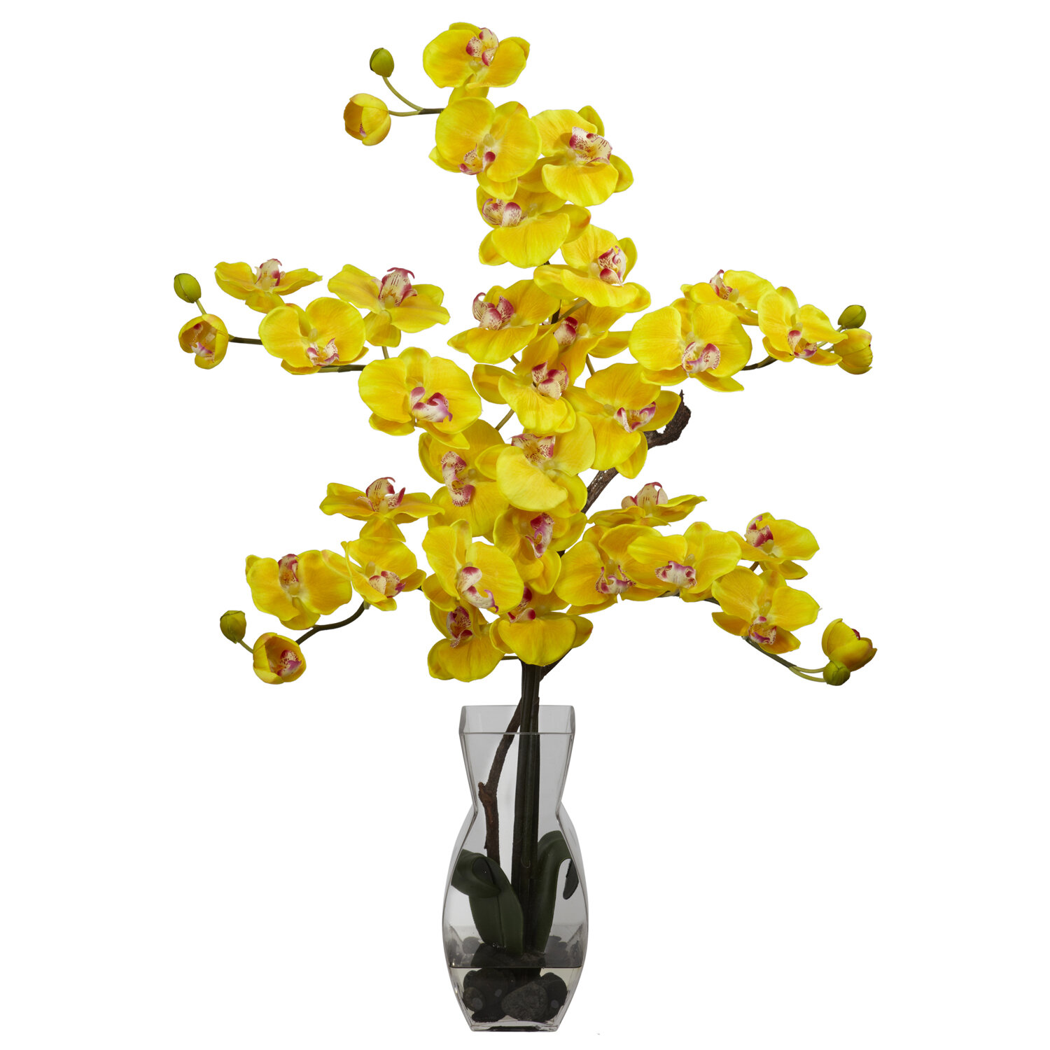 Nearly Natural Phalaenopsis With Vase Silk Flower Flowers In Yellow