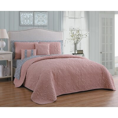 Melbourne 9 Piece Quilt Set Avondale Manor Color: Blush/gray, Size: Queen