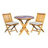 Sthilaire 3 Piece Teak Sunbrella Bistro Set with Cushions